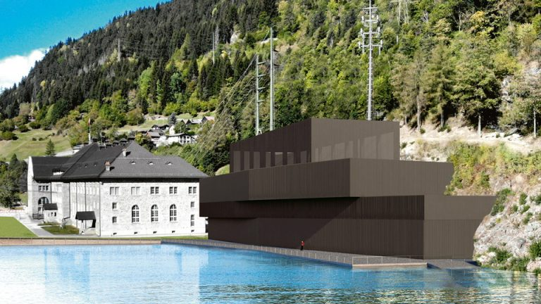 A rendering of the new Ritom pumped storage power plant in Switzerland. Credit: SBB