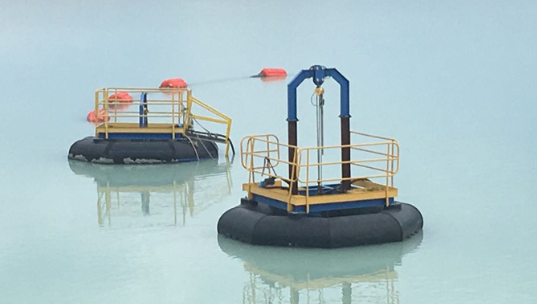 The Warman pumps on pontoons