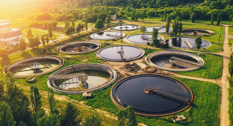 An aerial view of a wastewater plant